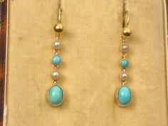 SUPERB-ANTIQUE-YELLOW-GOLD-TURQUOISE-SEED-PEARL-DROP-PENDANT-HOOK-EARRINGS