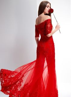 Tidebuy.com Offers High Quality Delicate Off-the-Shoulder Half Sleeves Appliques Lace-up Long Evening Dress With Jacket/Shawl, We have more styles for Elegant Evening Dresses (Free Shipping)