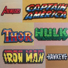 Assembled the Avengers perler bead sprites by Mcwando