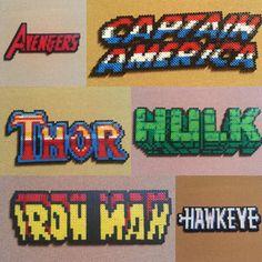 Assembled the Avengers perler bead sprites