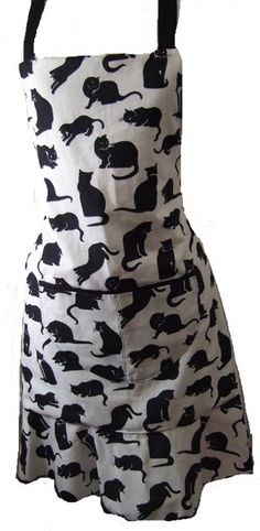 Black Cat Full Apron by GloriasPoshPinnies on Etsy, £19.95