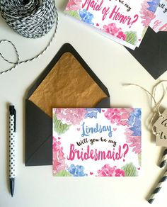 Personalized Floral Will you be my bridesmaid by LaneLoveDesign
