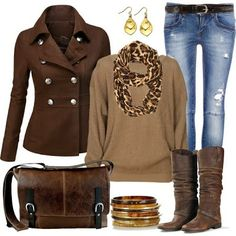 Brown Combination:Amazing Coat with Buttons,Blouse,Scarf Leather Boots and Handbag
