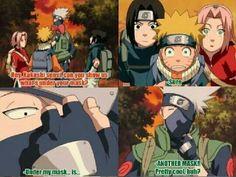 Team 7, Kakashi, Sasuke, Naruto, Sakura, mask, funny, comic, quote; Naruto
