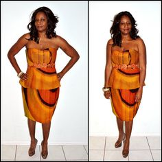 Brown And Orange African Ankara Print Strapless by ZabbaDesigns