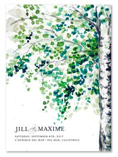 Watercolor Wedding Programs for you! September Birch Tree by ForeverFiances Weddings