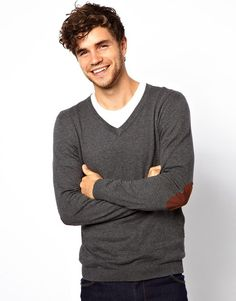 3748d828a95 Men s Gray V Neck Jumper with Elbow Patches