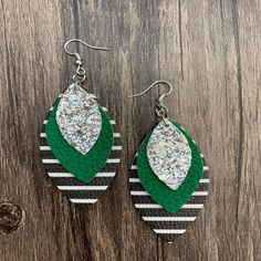 """Want to add some sassiness and fun to your outfit, if so grab a a pair of these triple layer faux leather earrings. All earrings are super lightweight for everyday wear.Size: 2 5/8"""" x 1 2/8"""" - drop 3 3/4"""" Diy Leather Earrings, Bling Bling, Sassy, Size 2, Jewelry Accessories, Layers, Cricut, Drop Earrings, Outfit"""