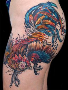 Colored Rooster Tattoo On Side Thigh