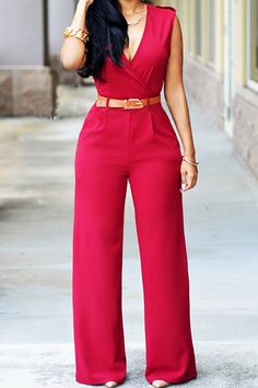 Fashion V Neck Sleeveless Solid Red Nylon One-piece Jumpsuit (With Belt)