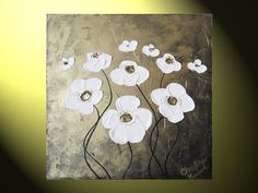 Original Art Abstract Painting White Flowers, Textured Modern Floral, Antique Metallic Bronze Gold, Poppies 20% SALE 20x20 by Christine. $135.00, via Etsy.