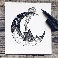 Pencil Drawings Illustration by Cool Art Drawings, Pencil Art Drawings, Art Drawings Sketches, Cool Drawings Tumblr, Doodle Drawings, Easy Drawings, Art And Illustration, Ink Illustrations, Stippling Art