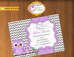 Owls Baby Shower Invitation  Purple & Grey by CraftyCreationsUAE