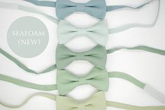 Seafoam linen, green shades bowties,matte looks,grayed jade,pistachio,hemlock,dusty shale,wedding ties,groom,groomsmen,men,green wedding set
