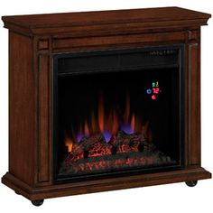 Electric Fireplace On Casters - $107.00 has a remote and temperature display heats upto 400 sq ft.
