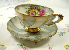 Vintage Tea Cup and Saucer Lusterware Roses Swirl with by meaicp, $35.00