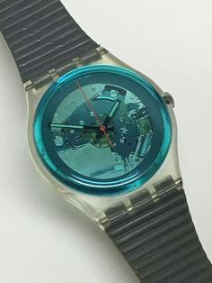 Rare Vintage Swatch Watch Turquoise Bay 1987 Clear Skeleton See Through Blue Grey Cool Watches, Watches For Men, Vintage Swatch Watch, Daniel Wellington Watch, Shops, The Time Is Now, Summer Collection, My Etsy Shop, Turquoise