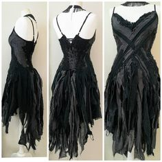 Pretty Outfits, Cute Outfits, Ddlg Outfits, Black Party Dresses, Wedding Dresses, Witch Dress, Fairy Clothes, Black Goth, Gypsy Dresses