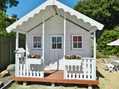Cute cubby house - just need lots of trees and flowers around it. Love the letter box, cute windows and flower boxes Kids Cubby Houses, Kids Cubbies, Play Houses, Outside Playground, Backyard Playground, Backyard For Kids, House Letters, Craft Shed, Wendy House