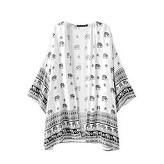 CardiganHatop Women Elephant Printed Half Sleeve Kimono Cardigan Coat Tops Blouse Cover up S ** Check out the image by visiting the link.