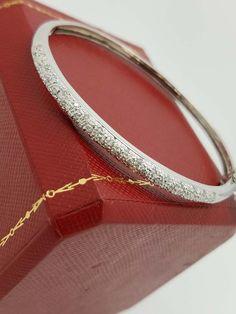 14k White Gold 0.60ct Diamond Pave Bangle Bracelet