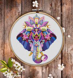 Mandala Elephant Cross Stitch Pattern for Instant Download