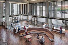 "Boston City Hall renovation preserves ""honesty"" of brutalist building City Hall Architecture, Boston Architecture, Concrete Architecture, Hall Interior Design, Hall Design, Boston City Hall, Brutalist Buildings, Building Renovation, Lobby Design"