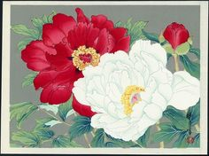 Red and White Camellia by Zuigetsu Ikeda (1877 - 1944)