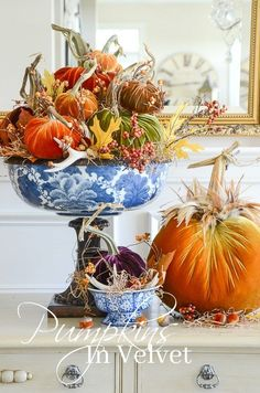 "IN VELVET For Fall/Thanksgiving decorating, velvet pumpkins from ""Love Feast Shop.""For Fall/Thanksgiving decorating, velvet pumpkins from ""Love Feast Shop. Decoration Christmas, Thanksgiving Decorations, Seasonal Decor, Holiday Decor, Thanksgiving Celebration, Diy Thanksgiving, Velvet Pumpkins, Fall Pumpkins, White Pumpkins"