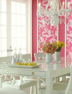 Laurel Bern, an interior designer in Bronxville, NY shares over 25 exquisite, sophisticated rooms and images featuring shades of pink from pale to vibrant.