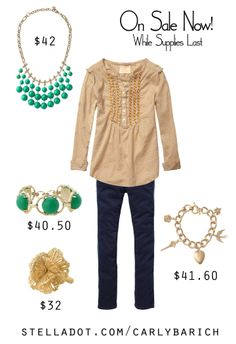 Feelin' lucky this St. Patrick's Day? There are some ridiculously cute pieces on sale right now, but only while supplies last!  Jolie Necklace, Zinnia Bracelet, Geneve Lace Ring, Wonderland Charm Bracelet #YEG #Edmonton #YYC #Calgary #StPatricksDay #KellyGreen #CharmBracelet #ootd #outfitinspiration #stelladot #stelladotstyle
