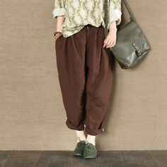 Green and Coffee Linen Turnip Pants Causel Women Clothes