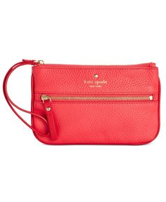 kate spade new york's signature wristlet in pebbled leather fits just what you need while leaving your hands free to shop, dance or apply that second coat of lipstick. | Soft pebbled leather | Importe