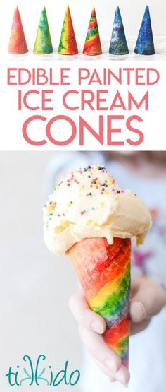 Apr 2018 - Tutorial for painting ice cream cones with food coloring to make amazing rainbow and galaxy (and other) fabulous decorated ice cream treats. Galaxy Ice Cream, Rainbow Ice Cream, Colorful Ice Cream, Ice Cream Treats, Ice Cream Party, Ice Cream Cones, Popcorn Ice Cream, Colored Popcorn, Cobbler