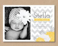 Chevron Girl Birth Announcement Photo Card, I Customize You Print, Printable File,  2 Styles  via Etsy.