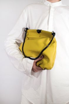 Small yellow soft natural leather clutch - evening bag. 1 x zipped inside pocket. Made in Europe.