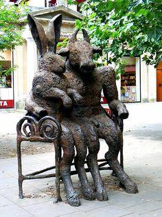 Hare and Minotaur statue