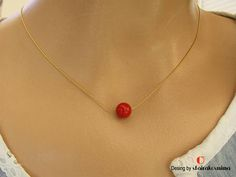 Single Red Coral Necklace Gold Chain Red Coral Sterling