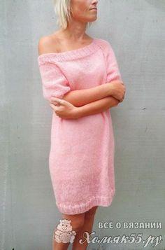 Вязаное платье туника спицами Knit Fashion, Sweater Fashion, Fabric Rosette, Knit Cardigan Pattern, Knitting Paterns, Angora, Crochet Wool, How To Purl Knit, Mohair Sweater