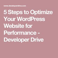 5 Steps to Optimize Your WordPress Website for Performance - Developer Drive