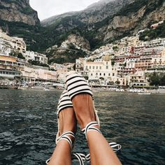 Striped espadrilles- and this view