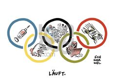 Schwarwel (2016-08-08) JO 2016:  Olympia Doping Demo Drohung