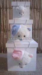 Trio de caixinhas com carrinha de urso