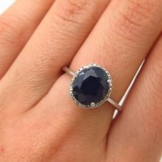 925 Sterling Silver Modern Hou Real Diamond and Sapphire Gemstone Ring Size 6 Druzy Ring, Gemstone Rings, Rock Rings, Vintage Jewelry, Unique Jewelry, Sterling Silver Filigree, Sapphire Gemstone, London Blue Topaz, Gemstones