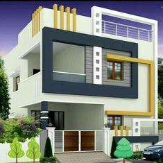 By Architects+ 2 Stories House Exterior Design ideas This Building Front Dimension And Second Side Dimension Single Floor House Design, House Front Design, Small House Design, Cool House Designs, Modern House Design, Bungalow Haus Design, Duplex House Design, Independent House, Indian House Plans