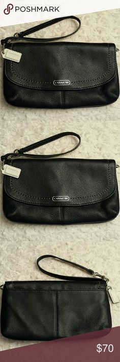 Coach NWOT Black Pebbled Leather Wristlet GORGEOUS Coach NWOT Black Pebbled Leather Wristlet with White Hang Tag,  Pocket in back,  snap closure,  8 slots and 1 pocket Coach  Bags Clutches & Wristlets