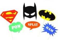 Super Hero Photo Booth Props - Set of 6 Batman and Superman Props - Comic Bubbles on Etsy, $27.00