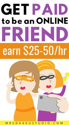 Get paid to be an online friend. Are you an outgoing person who loves to make or meet new people and make friends? Check out how you can get paid to be an online friend. Yes, becoming a virtual friend for rent is actually a real way to make money online. Check out these make money online as a friend sites to get started at. #onlinejobs #sidejobs #parttimejobs #sidehustleideas #makemoneyontheside #makemoneyonline #friends #rentafriend Ways To Earn Money, Earn Money From Home, Earn Money Online, Way To Make Money, Money Tips, Work From Home Companies, Work From Home Opportunities, Legit Work From Home, Work From Home Jobs