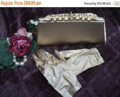 Evening Bag Purse and Gloves Set Sparkly by SpringJewelryThings