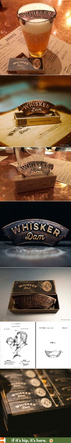 ❥ The Whisker Dam is a new product to protect a moustache from getting wet while drinking. The packaging design has a purposely distressed look and a vintage logo that was inspired by an original patent from 1872.